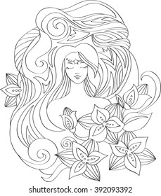 Contour girl with flowers