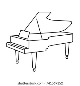contour grand piano from black lines on white background of vector illustration