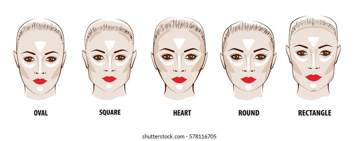 Contour and Highlight makeup. Contouring face make-up. Fashion illustration
