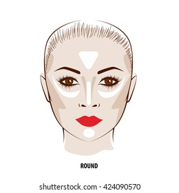 Contour and Highlight makeup. Contouring round face make-up. Fashion illustration