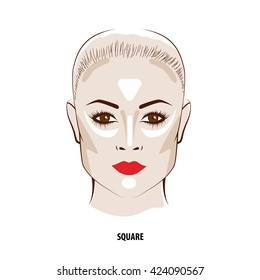 Contour and Highlight makeup. Contouring square face make-up. Fashion illustration