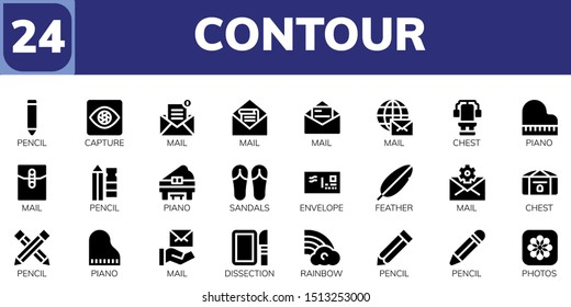 contour icon set. 24 filled contour icons.  Simple modern icons about  - Pencil, Capture, Mail, Chest, Piano, Sandals, Envelope, Feather, Dissection, Rainbow, Photos