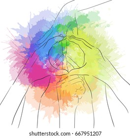 Contour illustration of human hands and sign of peace with rainbow watercolor spray. Gesture. Unity. Vector illustration for your creativity