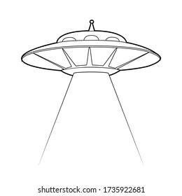 Contour illustration of a UFO with a stealing beam. Flying saucer. Unknown flying object. Vector outline object for logos, cards, banners and your creativity.