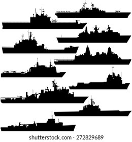 Contour image of amphibious ships. Illustration on white background.