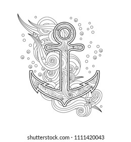 Contour image of anchor in zentangle inspired doodle style isolated on white.  Coloring book/page for adult and older children. Editable vector illustration.