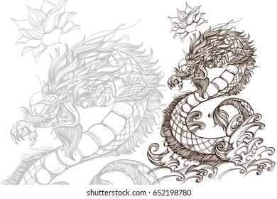Contour image of dragon. Zodiac animal sign, horoscope and astrological symbol. Vector illustration isolated on white background for tattoo, coloring books and other items.