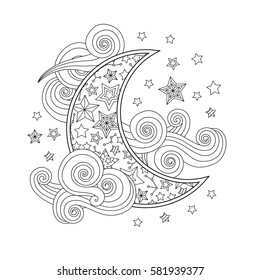 Contour image of moon crescent clouds stars in zentangle inspired doodle style isolated on white. Suqare composition. Coloring book/page for adult and older children. Editable vector illustration.