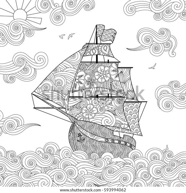 Zentangle Ilham Doodle Tarzi Dalga Yelkenli Stok Vektor Telifsiz