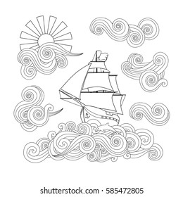 Contour image of ship on the wave, cloud, sun in zentangle inspired doodle style. Square composition. Coloring book, antistress page for adult and older children. Editable vector illustration.