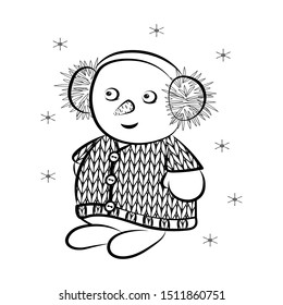 Contour image of a snowman in a knitted sweater. For New Year's decor or children's coloring. Vector illustration.