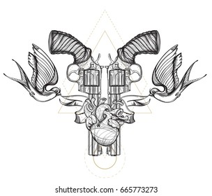 2182cefaceb31 Contour image of two revolvers, swallows, ribbon and human heart. Vector  illustration for