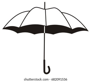 Contour image of umbrella isolated on a white background. Vector clip art.