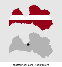 Contour of Latvia in grey and in flag colors