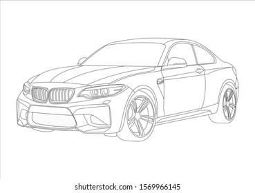 contour layout of the coupe. BMW m2 coupe.
