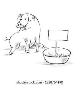 Contour Line Drawing. Coloring for kids. A piggy sits on the ground and asks for alms for sweet. There are a few coins in the bowl. Cute funny piglet. Hand-drawn. Cartoon.
