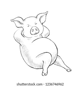 Contour Line Drawing. Coloring for kids. A series of postcards with a piglet. A fat pig lies. Cute funny piggy. Hand-drawn. Cartoon vector illustration.