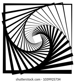 Contour lines of overlapping squares spiralling inwards. Rotating squares