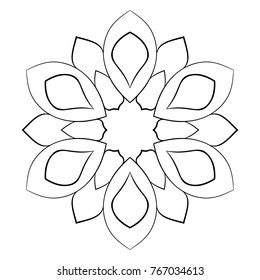 Contour mandala for color book. Monochrome illustration. Symmetrical pattern in a circle. Scalable image for scrapbook. The template for printing on fabric. Picture for meditation and relaxation.