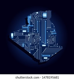 Contour map of Algeria with a technological electronics circuit. African country. Blue background.