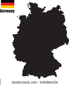 Contour map of Germany on White Background with national flag