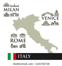 Contour map of Italy. Sights symbols of the city, near the town. Milan, Rome, Venice. Can use for infographic