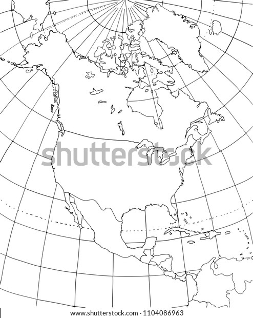 Contour map of North America. North America with smoothed country borders. Thin black outline on white background.