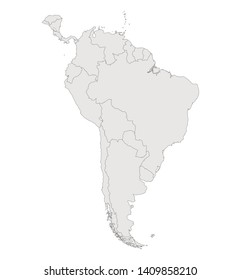 Contour map of South America on white background. Vector