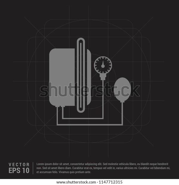 Contour medical mechanical tonometer icon - Black Creative Background - Free vector icon