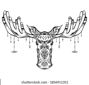 Contour native illustration of a moose head with ethnic decoration and bead on horns. Boho vector illustration for card, t-shirt print, tattoo and your design