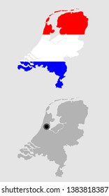 Contour of Netherlands in grey and in flag colors