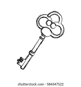 contour old key icon stock, vector illustration image design