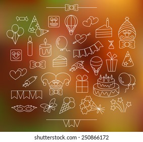 Contour party icons. White, editable, isolated. Plus bright background.