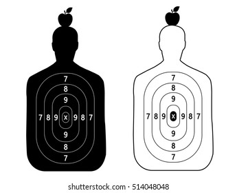 Contour people target. Goal shooting set. The man on the head apple.