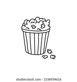 Contour popcorn icon. Hand drawn cartoon illustration of food in cinema. American symbol of snack in doodle style. Large paper cup striped to the top filled with ready-made corn kernels