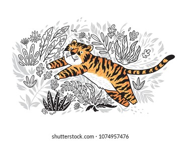 Contour print of jungle with orange tiger in cartoon style. Tiger is jumping in tropical garden.