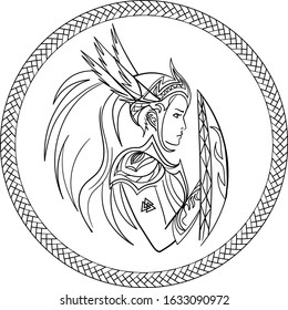 contour profile of valkyrie with shield