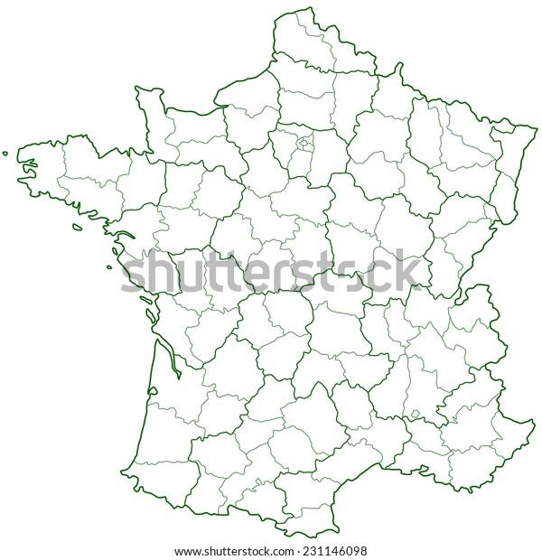 Contour Alue Ja Departementin Kartta Ranskan Arkistovektori