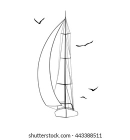 Contour of sailboat made in the vector and isolated on white background. Sport yacht, sailboat. Outline drawing