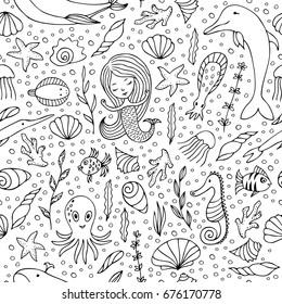 Contour seamless pattern. Black contours on white background. Marine animals and fish, mermaids and seashells hand-drawn.