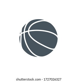 contour shapes icon basketball ball isolated on white background. Modern design minimalistic style black and white outline shapes sign classic basketball ball.