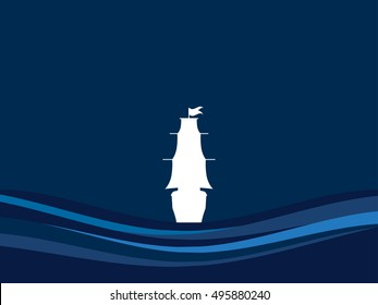 Contour of the ship on the waves. Sailboat back view, floating away ship. Columbus Day. Vector illustration.