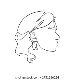 Contour silhouette of female head with earring, lips, eyes, nose and hair drawn by one continuous line. Linear glamour logo in minimal design for advertising jewelry. Abstract cubism face.