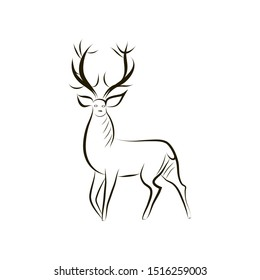 Contour silhouette of graceful deer. Black - white vector deer silhouette isolated. Idea for tattoo, coloring, zenart, sticker, logo, icon. Symbol of fertility, longevity, abundance, renewal, rebirth
