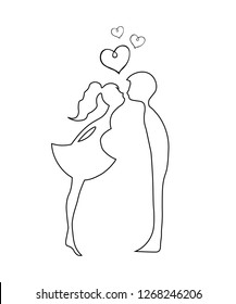 contour Silhouettes of kissing boy and girl. Kissing couple of young lovers . Romantic couple silhouette. Lovers woman and man kissing.