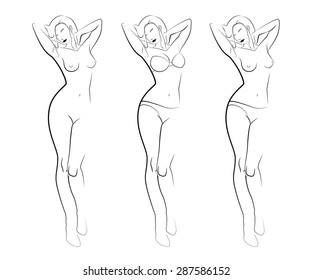 Contour silhouettes of woman body. Black line silhouettes of female body in underwear. Contours of attractive woman silhouette in lingerie (bra set, panties) and naked. Abstract fashion set of icons.