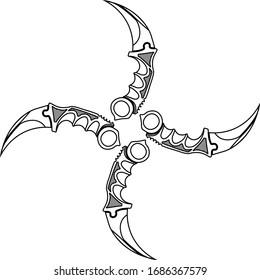 contour sketch of four pocket knives karambits