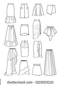 Contour of skirts with asymmetry and folds isolated on white background