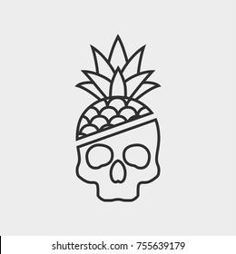 contour skull pineapple icon, logo