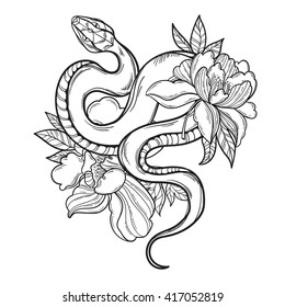 Contour snake in flowers. Tattoo art, coloring books. Hand drawn vintage vector illustration Isolated on white background.